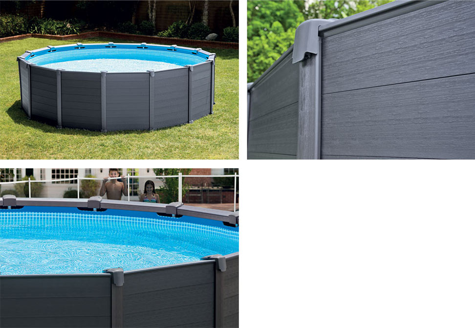 Piscine hors sol graphite 4 78 m h 1 24 m intex for Piscine graphite intex
