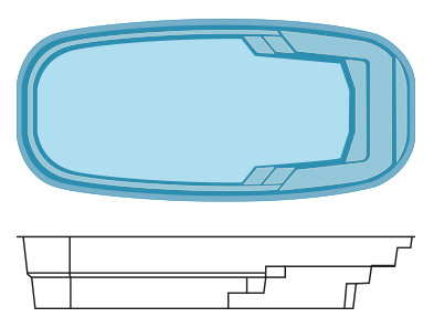 Coque polyester cursa 9 hydro sud for Hydrosud piscine
