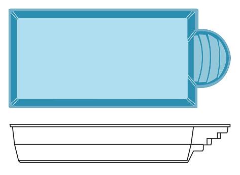 Coque polyester scala 8 hydro sud for Hydrosud piscine